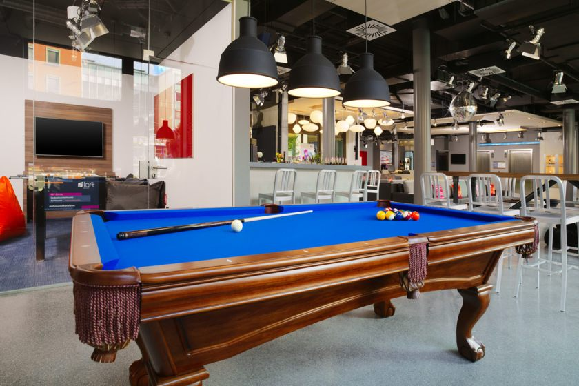 pool table in the lobby