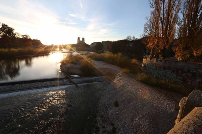 Isar Corneliusbrücke Sonnenuntergang 2113s
