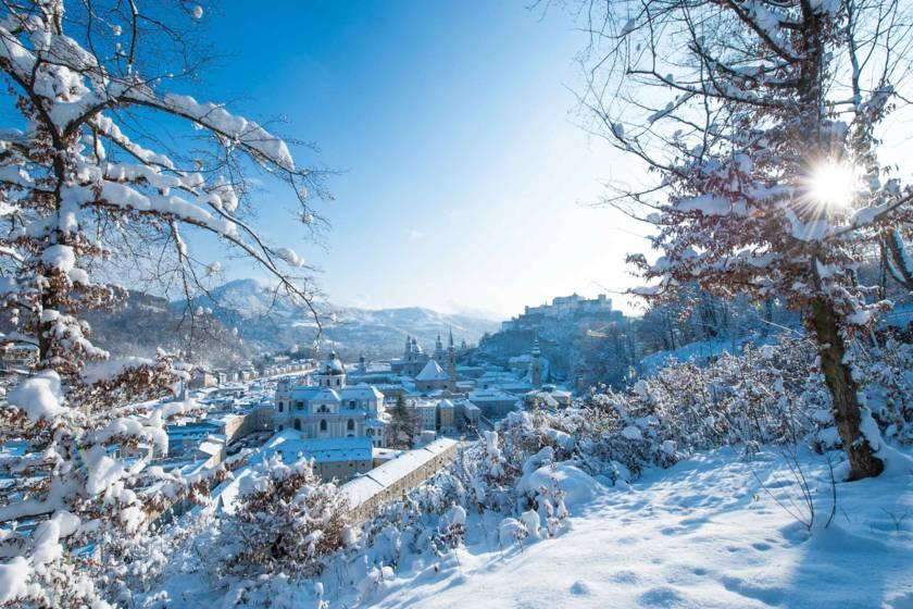 Salzburg Stadtansicht im Winter