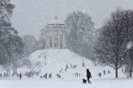 Sledding in the middle of the city: that's possible at the Monopteroshügel in the English Garden.