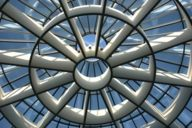 View up to the highest point of the dome light of the rotunda in the Pinakothek der Moderne.