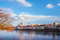 View of Regensburg's old town from the Iron Bridge