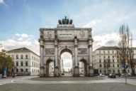 """The Geschwister-Scholl-Platz is located on the Ludwigstraße nearby the Siegestor and named after Sophie and Hans Scholl. Both were members of the """"White Rose""""."""