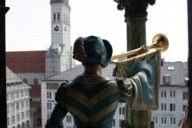 This view of one of the almost man-sized wooden figures of the Munich Glockenspiel in the Munich City Hall tower is highly unusual.