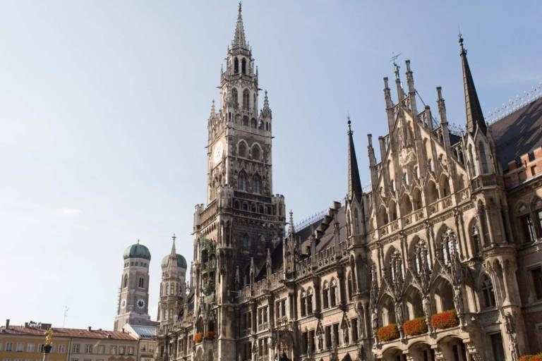 Blue sky above the Neues Rathaus and the Frauenkirche in Munich.