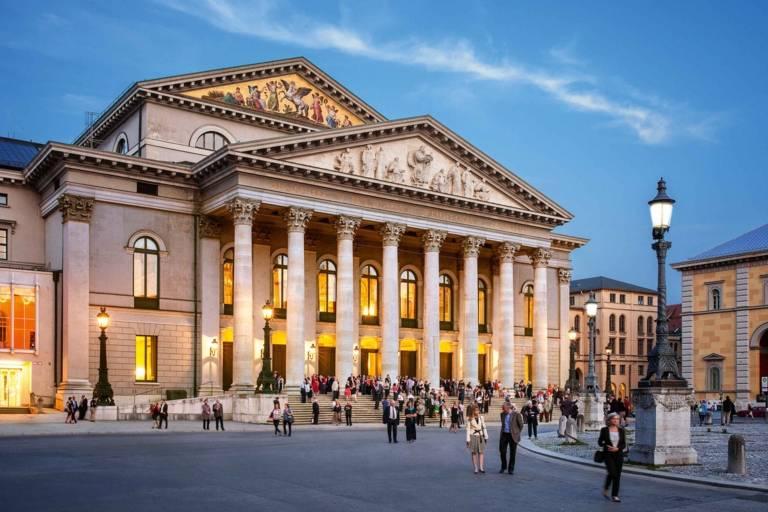 The Bayerische Staatsoper in Munich at sunset.