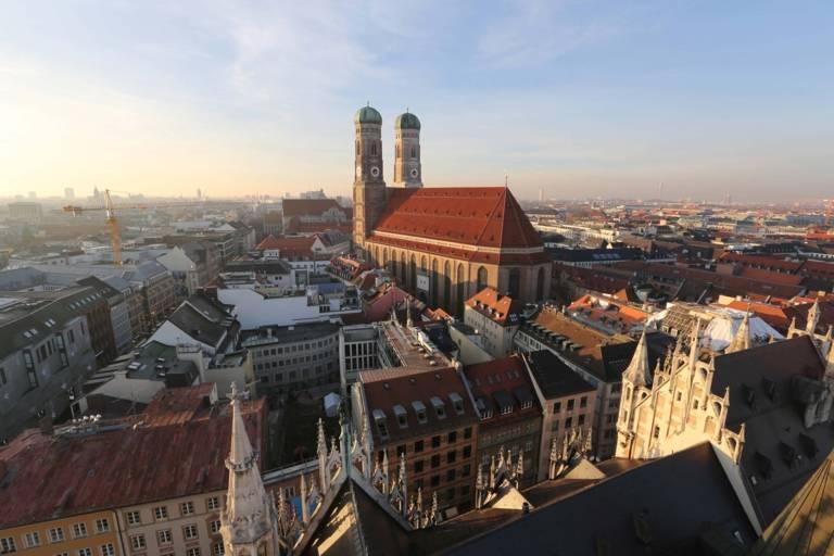 Frauenkirche in Munich at sunset.
