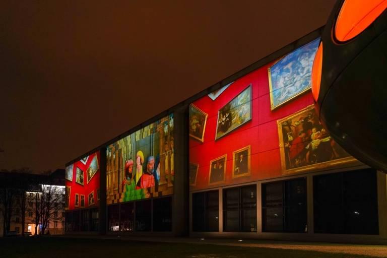 A light projection at the Pinakothek der Moderne in Munich