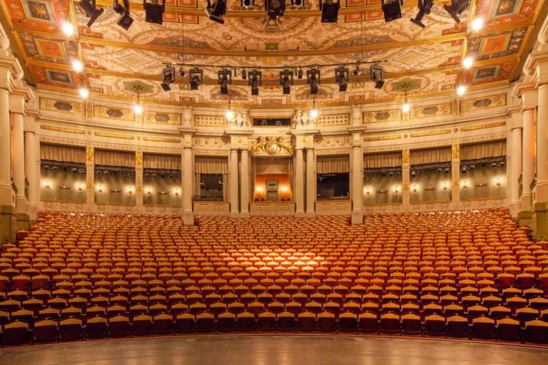 Panoramic view of an empty auditorium of the Prinzregentenheater in Munich.