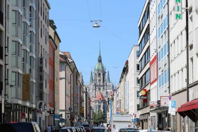 View on St. Paul cathedral from Landwehrstraße in Munich