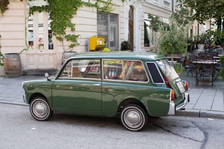 A parked car at Sedanstrasse in Munich.