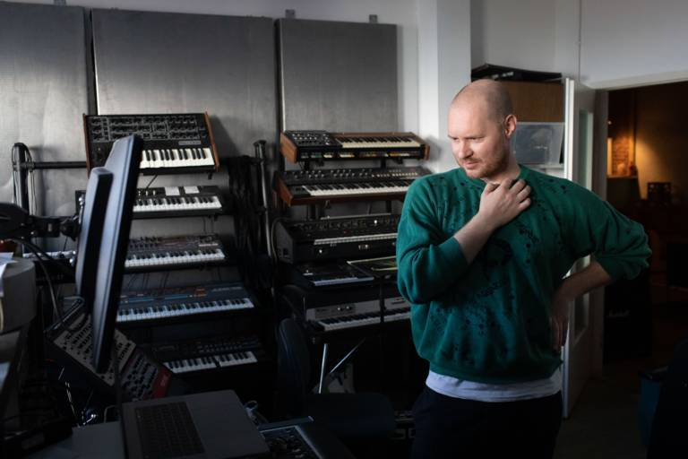 Musician Beni Brachtel in his recording studio in Munich.