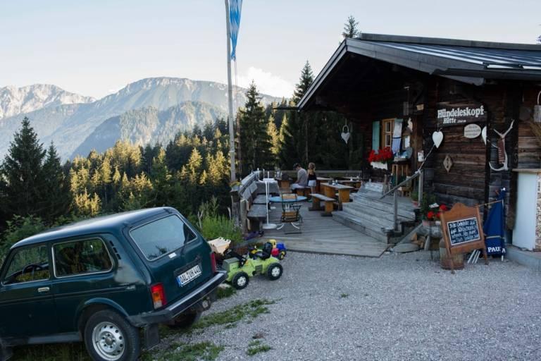 Entrance of the Hündeleskopfhütte, the first vegetarian hut in the Alps near Munich.
