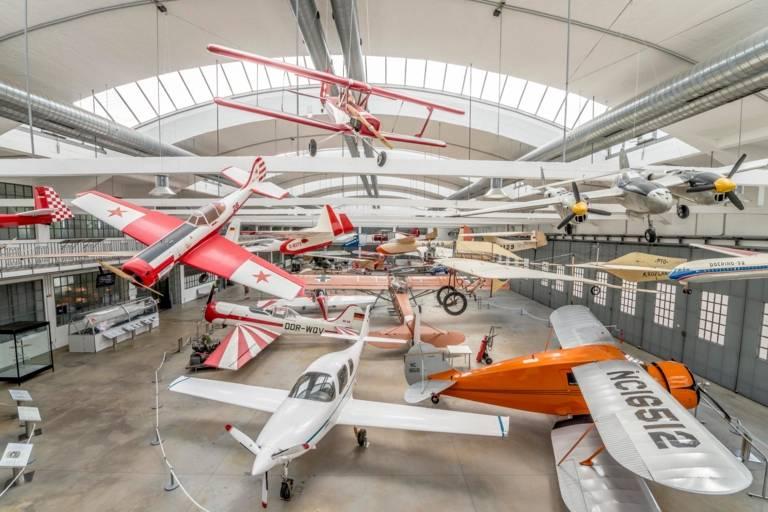 Historic aircraft stand in the hangar of the Flugwerft Schleißheim of the German Museum