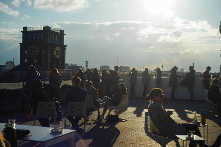 Rooftop flooded with sunshine in Munich