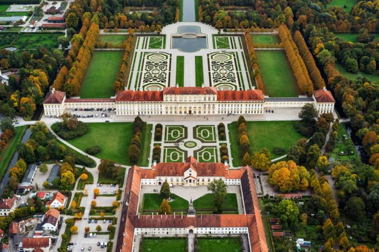 Schleißheim palace complex nearby Munich photographed from above in autumn.