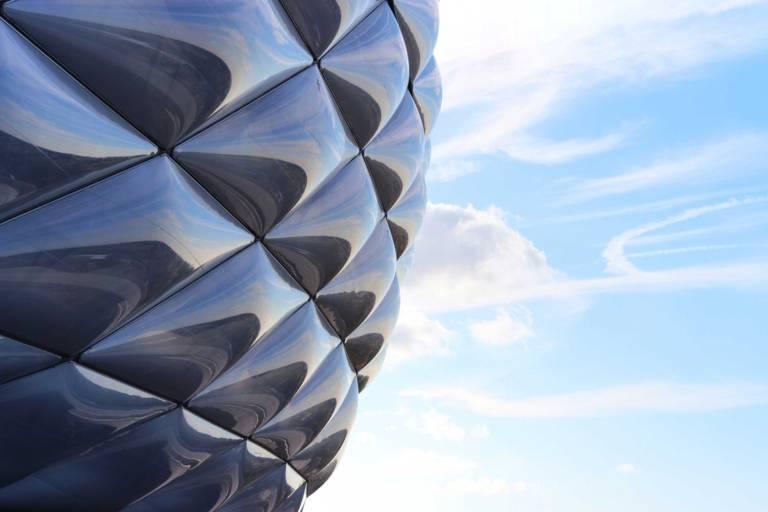 A closer look at the Allianz Arena in Munich.