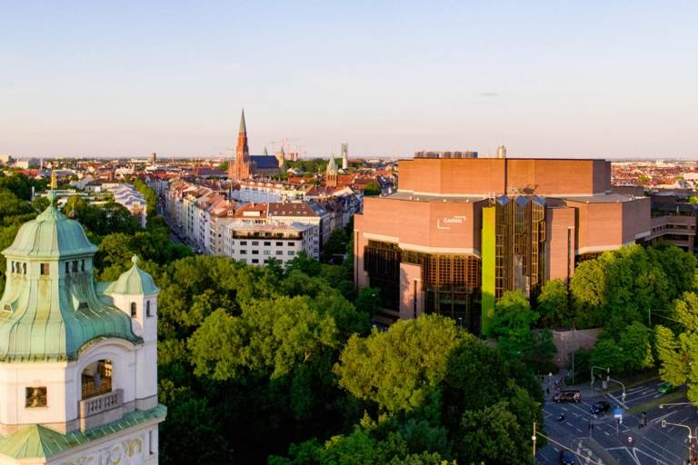 Gasteig in Munich with the Müllersche Volksbad in the front taken from the air with a drone.