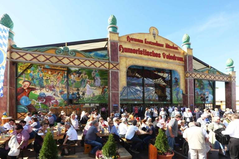 "The entertainment attraction ""Humoristisches Velodrom"" at the traditional Oide Wiesn at the Oktoberfest in Munich."