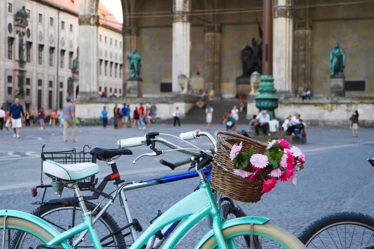 Bicycles in front of the Feldherrnhalle at Odeonsplatz in Munich.