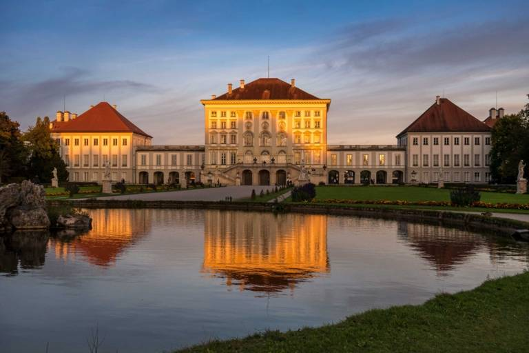 Nymphenburg Palace in Munich at sunset.