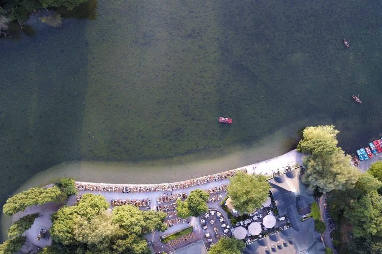 The Kleinhesseloher Lake in the Englischer Garten taken from above with a drone.