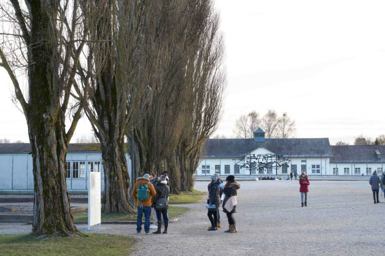 Service building in the Dachau concentration camp memorial site in the vicinity of Munich.