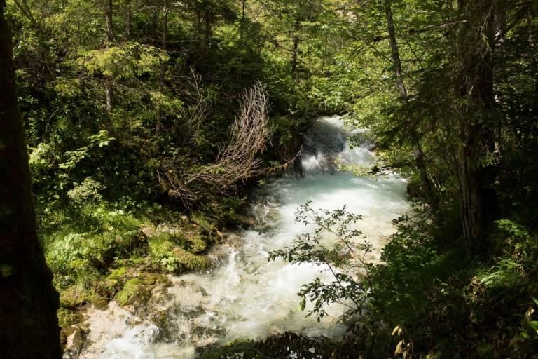 Rapids of the Partnachklamm in the Wettersteingebirge at Garmisch-Partenkirchen.