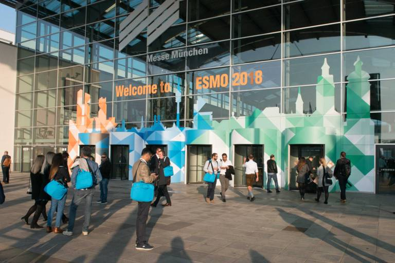 The entrance area of Messe München at the ESMO Congress 2018