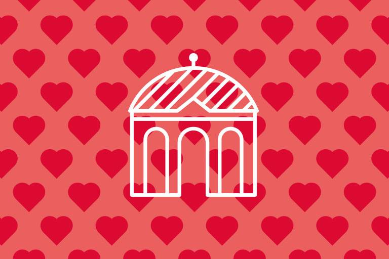 Dianatempel-Icon auf roter Struktur