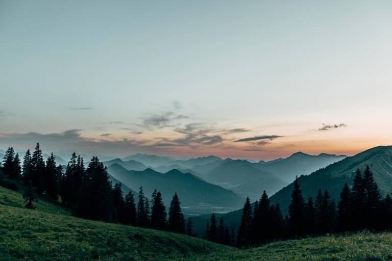 Panoramic view of the Bavarian foothills of the Alps in the surrounding region of Munich.