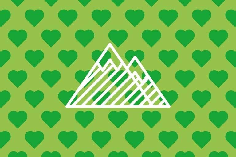 Berge auf grünen Hintergrund.