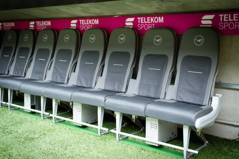 Bench in the Allianz Arena in Munich for football players and coaches.