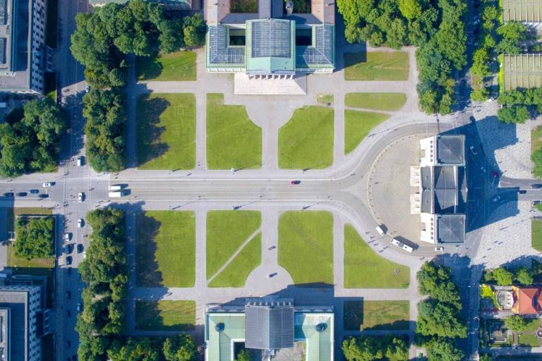The Königsplatz in Munich photopgraphed from above with a drone.
