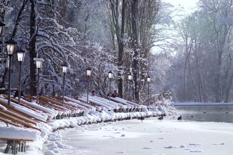 The Seehaus at the English Garden in Winter in Munich