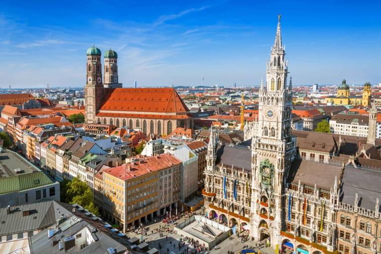 Panoramic view of the innercity of Munich with the Marienplatz, Neues Rathaus and Frauenkirche.