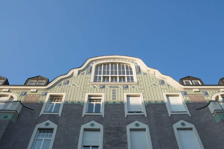Facade of a building in the district Schwabing in Munich.