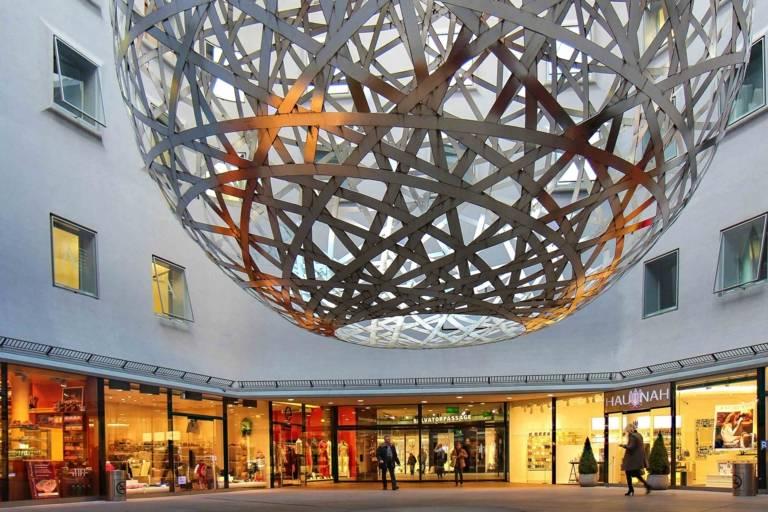 """Sphere"" by Olafur Eliasson in the Fünf Höfe in Munich."
