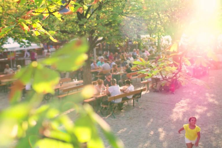 Back light in the beer garden in late summer Munich