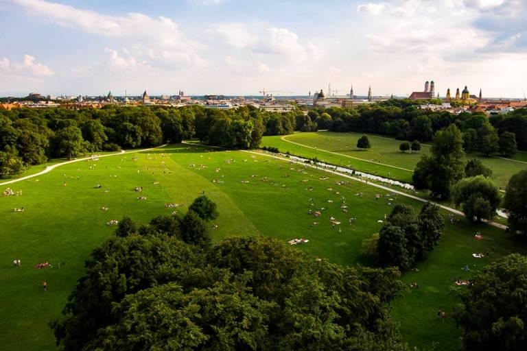 The Englische Garten in Munich taken from above with a drone.