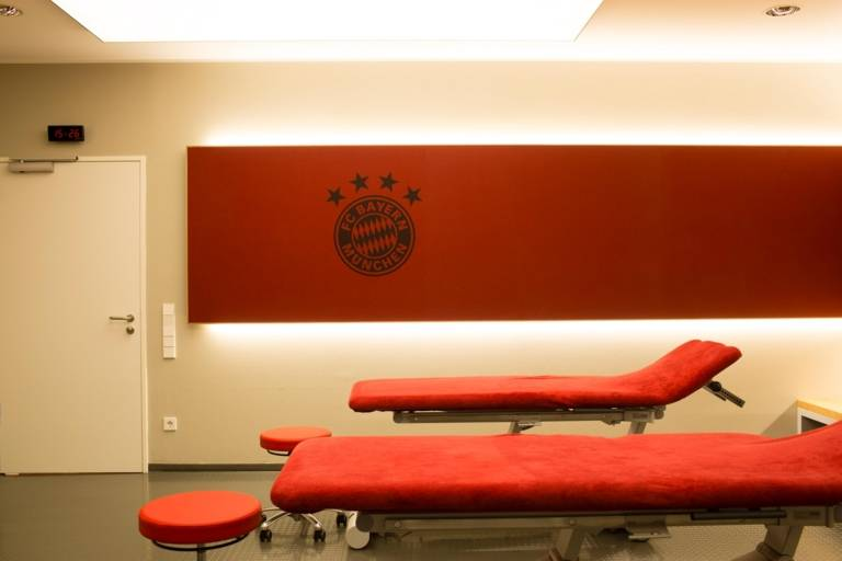 Massage table in the Allianz Arena in Munich.
